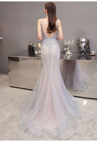 Image of Mermaid Pageant Dresses Brilliant Beading Dusty Gray - 3