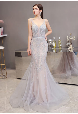 Image of Mermaid Pageant Dresses Brilliant Beading Dusty Gray - 1