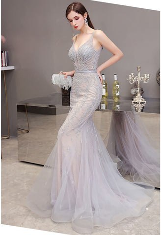 Image of Mermaid Pageant Dresses Brilliant Beading Dusty Gray - 6