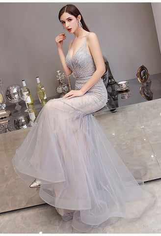 Image of Mermaid Pageant Dresses Brilliant Beading Dusty Gray - 5