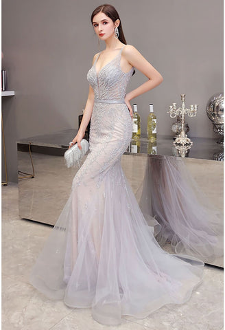 Image of Mermaid Pageant Dresses Brilliant Beading Dusty Gray - 2