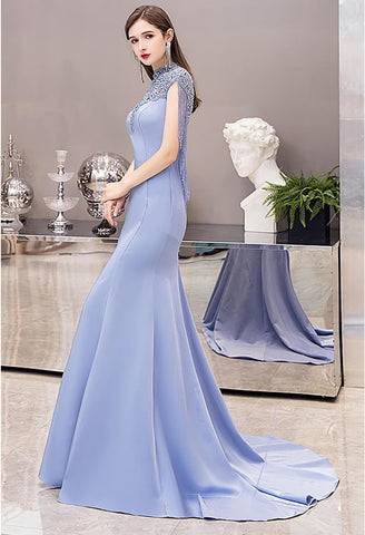 Image of Mermaid Pageant Dresses Chic High Neck Satin with Beading Tassels - 7