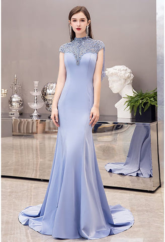 Image of Mermaid Pageant Dresses Chic High Neck Satin with Beading Tassels - 1