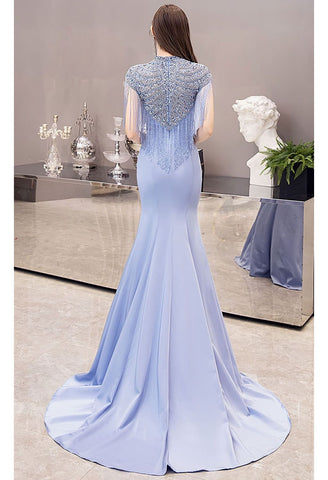 Image of Mermaid Pageant Dresses Chic High Neck Satin with Beading Tassels - 2