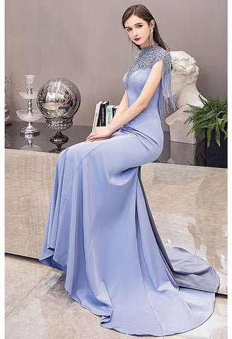 Image of Mermaid Pageant Dresses Chic High Neck Satin with Beading Tassels - 4