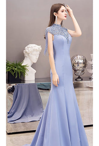 Image of Mermaid Pageant Dresses Chic High Neck Satin with Beading Tassels - 3