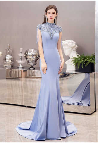 Image of Mermaid Pageant Dresses Chic High Neck Satin with Beading Tassels - 5