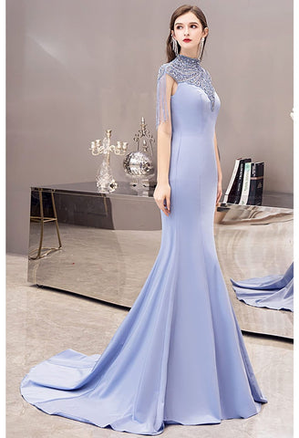 Image of Mermaid Pageant Dresses Chic High Neck Satin with Beading Tassels - 8