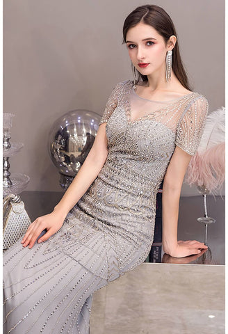 Image of Mermaid Pageant Dresses Junoesque Beading Silver - 4