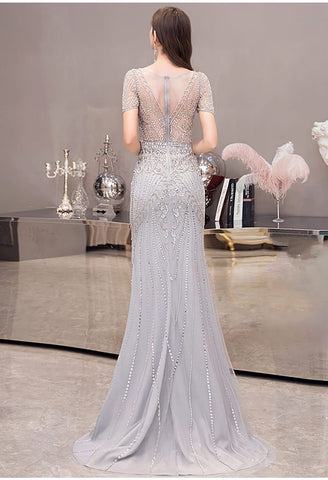 Image of Mermaid Pageant Dresses Junoesque Beading Silver - 3