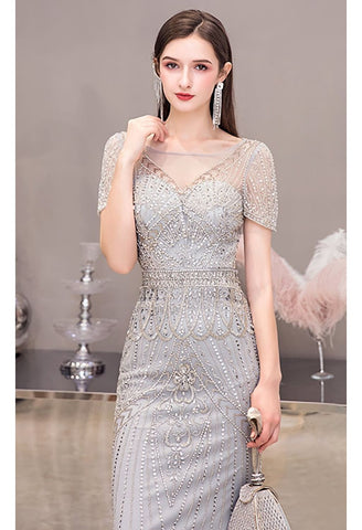 Image of Mermaid Pageant Dresses Junoesque Beading Silver - 5