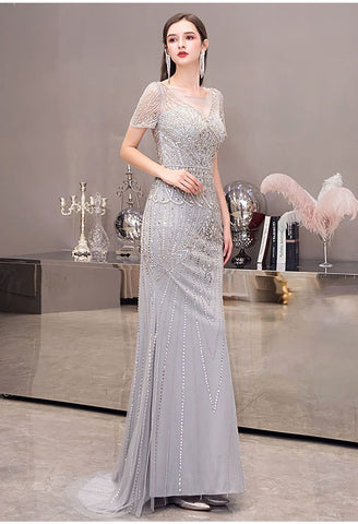 Image of Mermaid Pageant Dresses Junoesque Beading Silver - 7