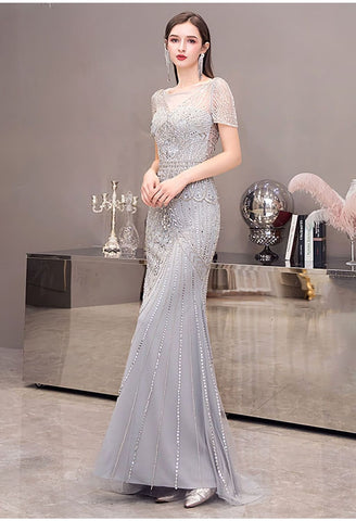 Image of Mermaid Pageant Dresses Junoesque Beading Silver - 1