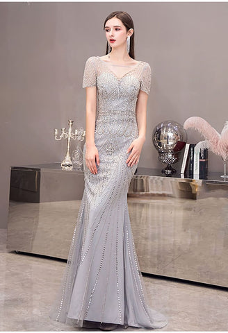 Image of Mermaid Pageant Dresses Junoesque Beading Silver - 2