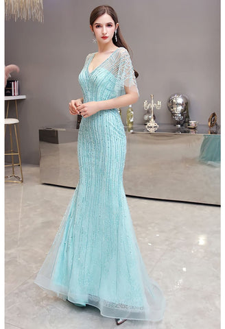Image of Mermaid Pageant Dresses Junoesque Rhinestones Embellished with Chic Sleeves - 2