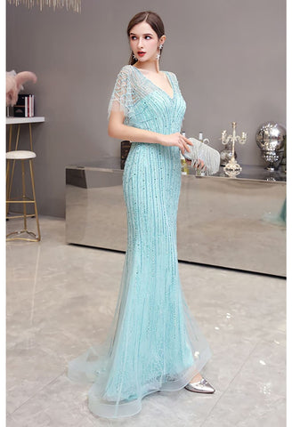 Image of Mermaid Pageant Dresses Junoesque Rhinestones Embellished with Chic Sleeves - 6