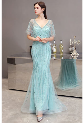 Image of Mermaid Pageant Dresses Junoesque Rhinestones Embellished with Chic Sleeves - 1