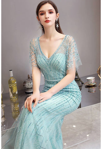 Image of Mermaid Pageant Dresses Junoesque Rhinestones Embellished with Chic Sleeves - 4