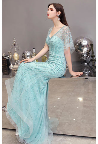 Image of Mermaid Pageant Dresses Junoesque Rhinestones Embellished with Chic Sleeves - 5