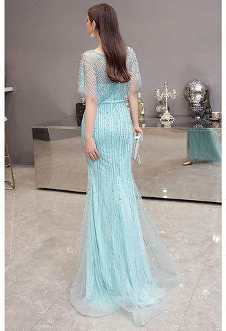 Image of Mermaid Pageant Dresses Junoesque Rhinestones Embellished with Chic Sleeves - 3