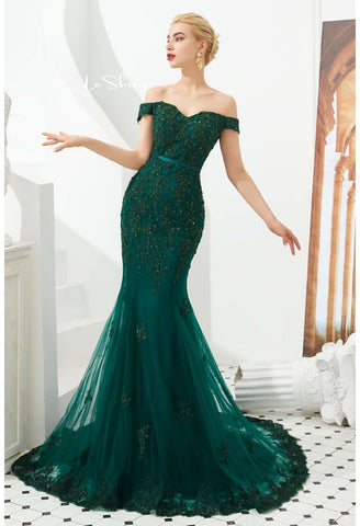 Image of Mermaid Pageant Dresses Off-Shoulder - 1
