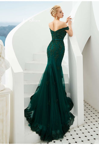 Image of Mermaid Pageant Dresses Off-Shoulder - 3
