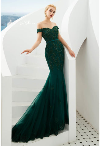 Image of Mermaid Pageant Dresses Off-Shoulder - 4