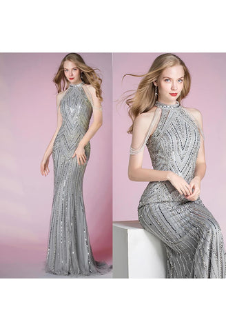 Image of Mermaid Pageant Dresses Shimmering Beaded Halter - 7