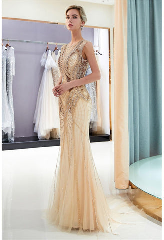 Image of Mermaid Party Dresses Brilliant Bateau Neckline with Rhinestones Embellished Tulle - 1