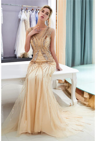 Image of Mermaid Party Dresses Brilliant Bateau Neckline with Rhinestones Embellished Tulle - 4