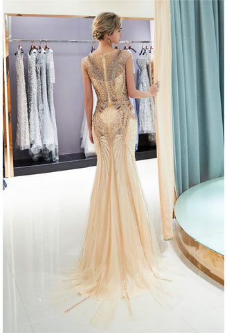 Image of Mermaid Party Dresses Brilliant Bateau Neckline with Rhinestones Embellished Tulle - 2
