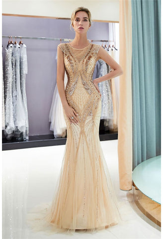 Image of Mermaid Party Dresses Brilliant Bateau Neckline with Rhinestones Embellished Tulle - 5