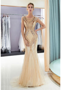 Mermaid Party Dresses Brilliant Bateau Neckline with Rhinestones Embellished Tulle - 5