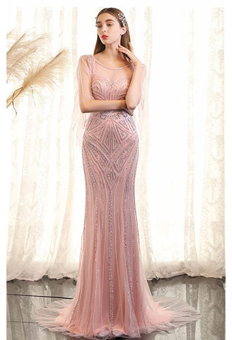 Image of Mermaid Party Dresses Brilliant Beading with Trumpet Sleeves-4 - 1