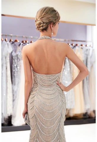 Image of Mermaid Party Dresses Brilliant Halter Neckline with Rhinestones Embellished Tulle - 4