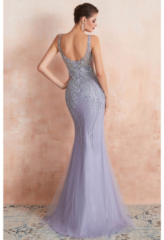 Image of Mermaid Party Dresses Complicated Beaded with Lavender Tulle Sheer Neckline - 2