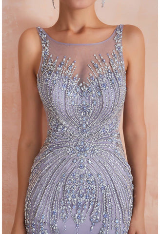 Image of Mermaid Party Dresses Complicated Beaded with Lavender Tulle Sheer Neckline - 5