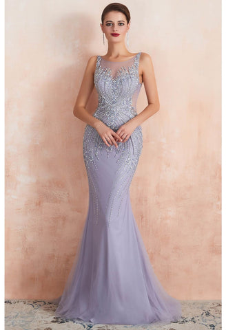 Image of Mermaid Party Dresses Complicated Beaded with Lavender Tulle Sheer Neckline - 3