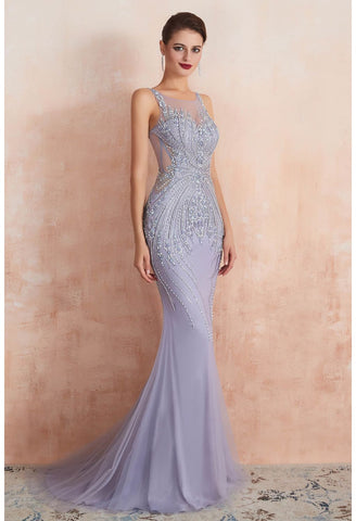 Image of Mermaid Party Dresses Complicated Beaded with Lavender Tulle Sheer Neckline - 1