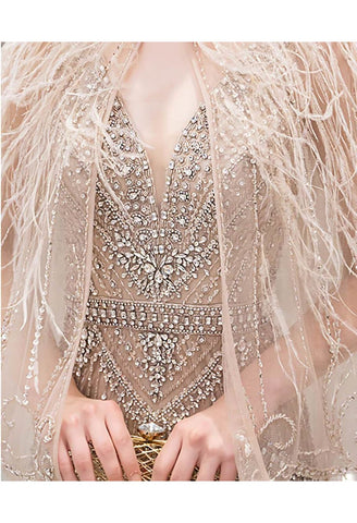 Image of Mermaid Party Dresses Junoesque Rhinestones Embellished V-Neck with Beading Tassels Capelet - 8