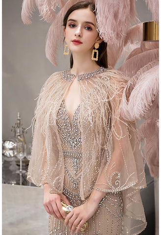 Image of Mermaid Party Dresses Junoesque Rhinestones Embellished V-Neck with Beading Tassels Capelet - 5