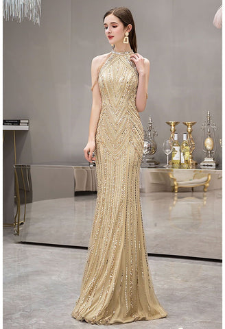 Image of Mermaid Prom Dresses Brilliant Halter Neckline with Rhinestones Embellished - 6