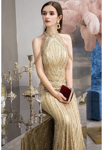Image of Mermaid Prom Dresses Brilliant Halter Neckline with Rhinestones Embellished - 4