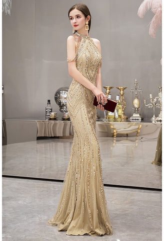 Image of Mermaid Prom Dresses Brilliant Halter Neckline with Rhinestones Embellished - 1