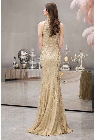 Image of Mermaid Prom Dresses Brilliant Halter Neckline with Rhinestones Embellished - 2