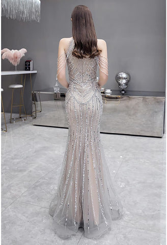 Image of Mermaid Prom Dresses Brilliant Halter Neckline with Rhinestones - 3