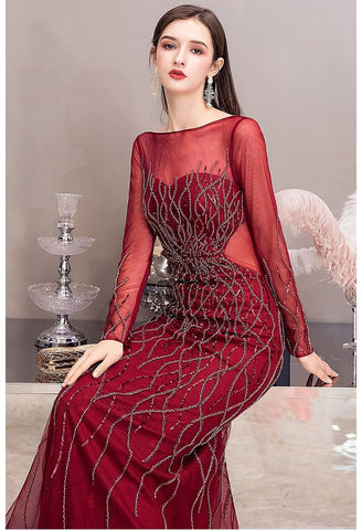 Image of Mermaid Prom Dresses Brilliant Sequins Beading Embellished Long Sleeves - 4