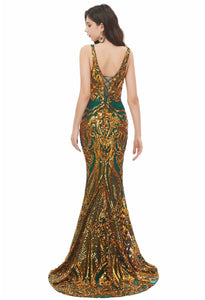 Mermaid Prom Dresses Brilliant Sequins Embellished V-Neck-2 - 3