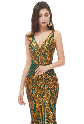 Image of Mermaid Prom Dresses Brilliant Sequins Embellished V-Neck-2 - 5