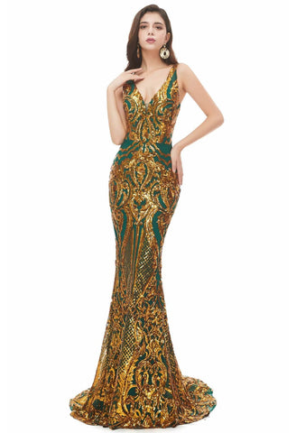 Image of Mermaid Prom Dresses Brilliant Sequins Embellished V-Neck-2 - 2
